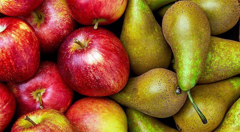 jabłka i gruszki na zdjęciu