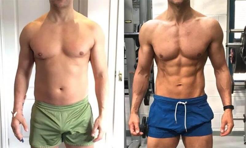 masa mięśniowa przed i po